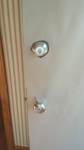 Be sure to cut an opening for your lock and door knob!